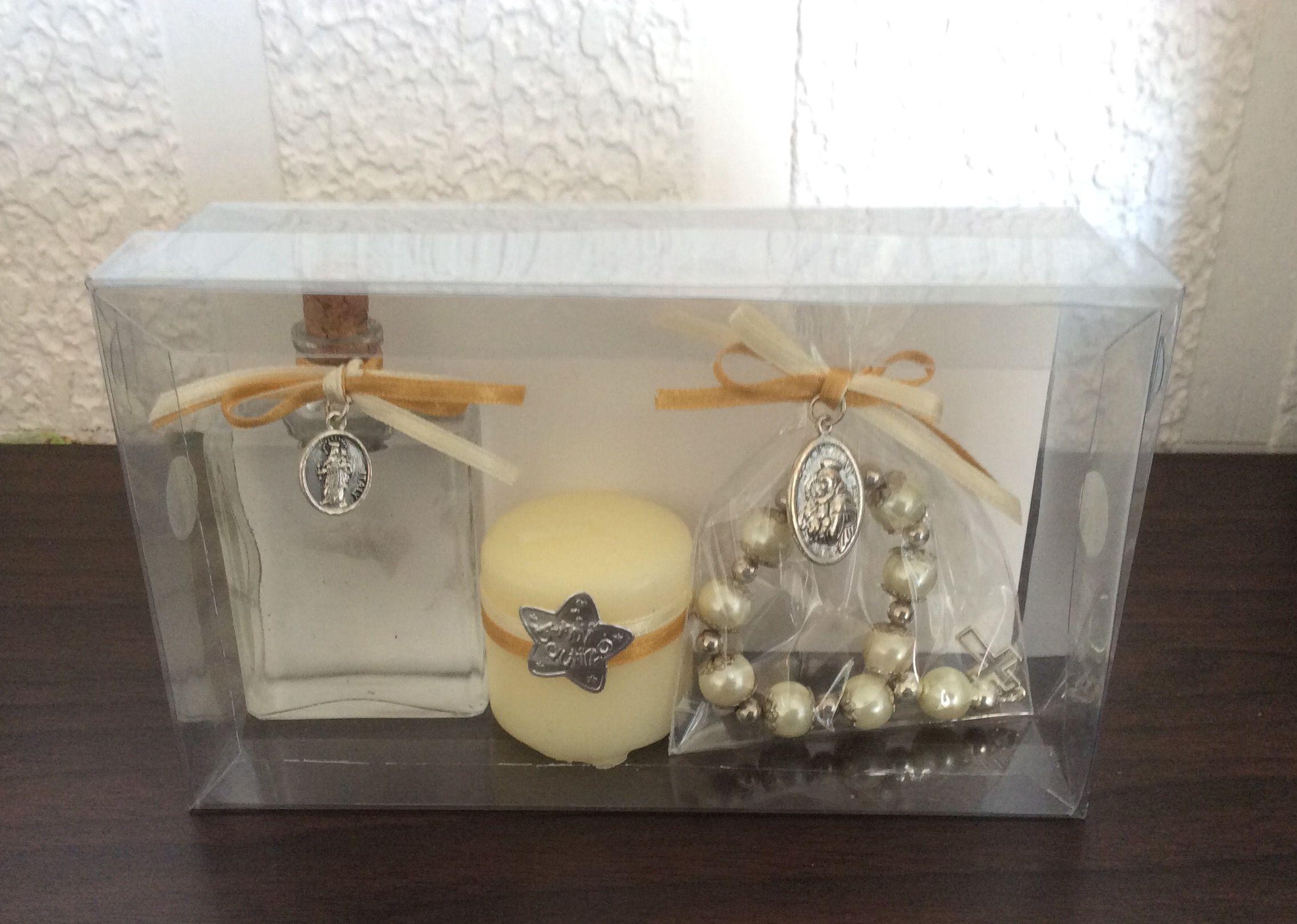 botella para agua bendita vela y novenario bautizo o primera comunin