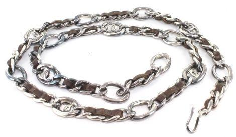 42e1294fe7b8 Ceinture CHANEL chaîne en cuir marron et métal argenté vieilli   Braun   90  FR   Leder