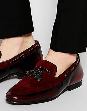ASOS Tassel Loafers in Burgundy Suede and Leather Mix  3505ba59161