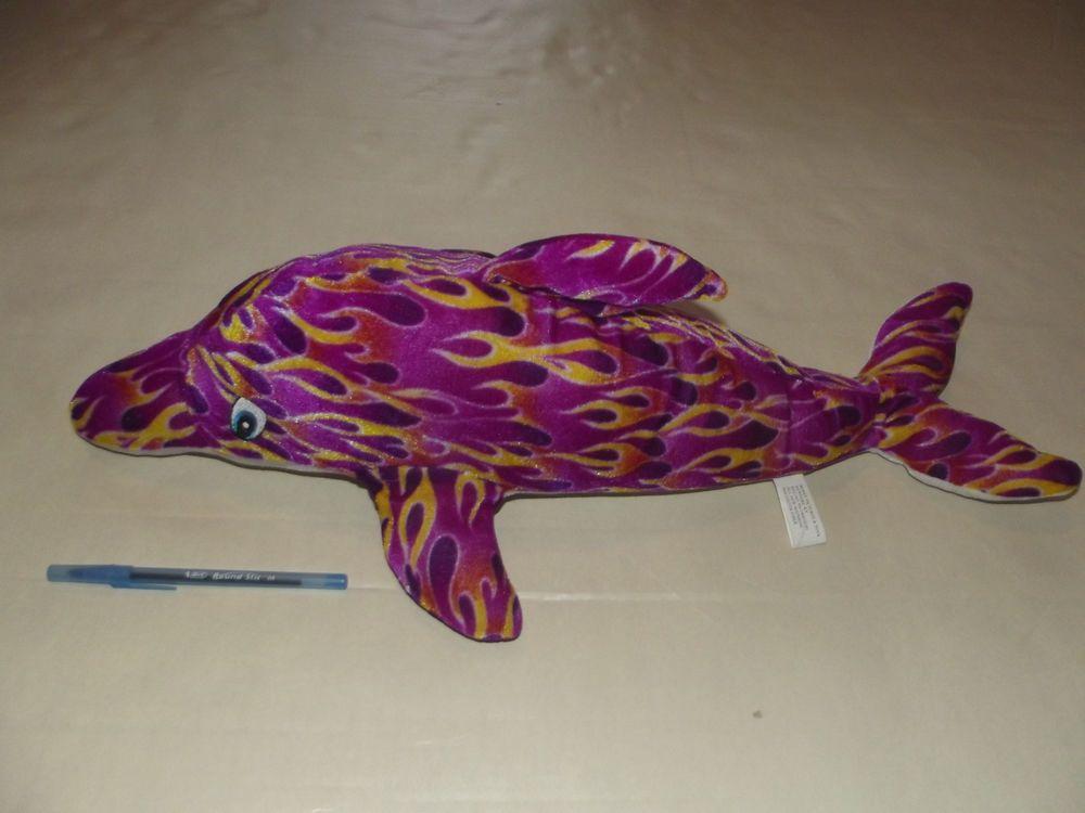 Soft Plush 23 Big Large Purple Fire Flame Dolphin Stuffed Animal