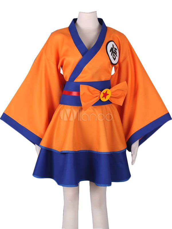 Dragonball Z Son Goku Kakarotto Female Lolita Kimono Dress Anime Cosplay  Costume ce26d95c9337