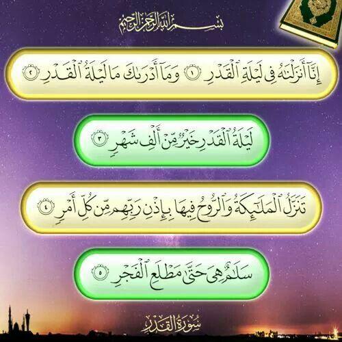 سورة القدر Food And Drink Hamada Holy Quran