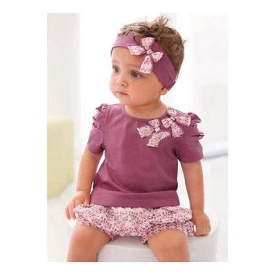 3pcs New Children Baby Girls Newborn KidsTop+Pants+Headband Clothes Clothing Set