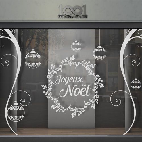 sticker vitrine joyeux no l boules orenements deco fen tre pinte. Black Bedroom Furniture Sets. Home Design Ideas