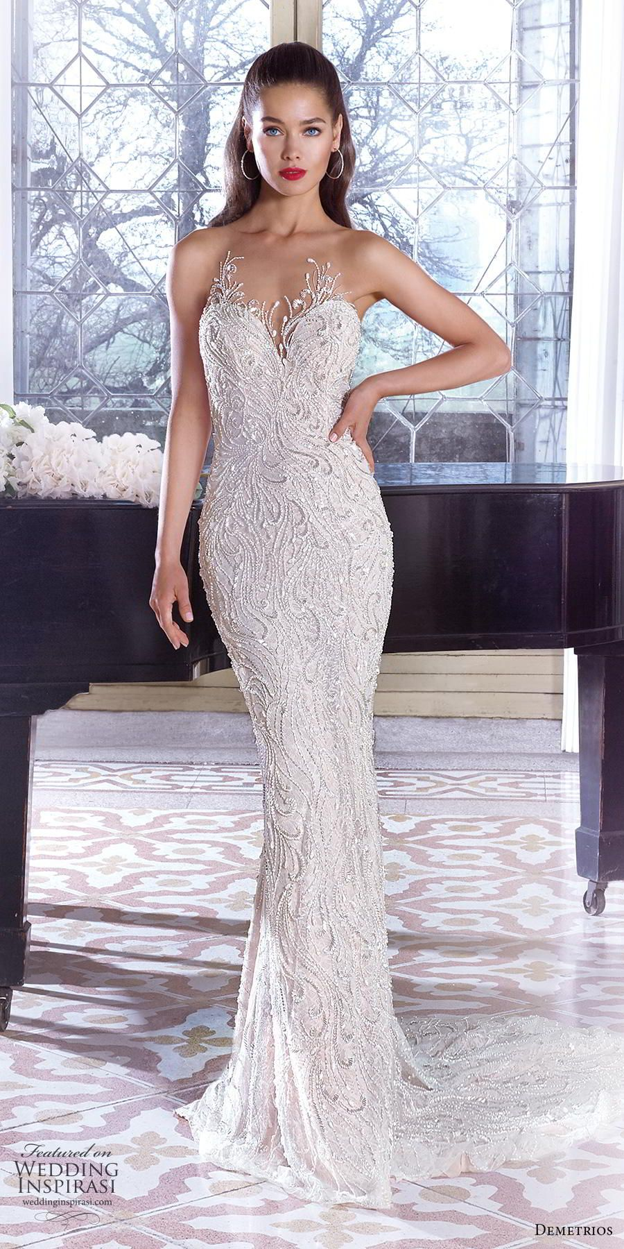 267cf6d61a98e demetrios 2019 bridal strapless sweetheart neckline full embellishment  elegant glamorous fit and flare sheath wedding dress embellished back short  train (8) ...