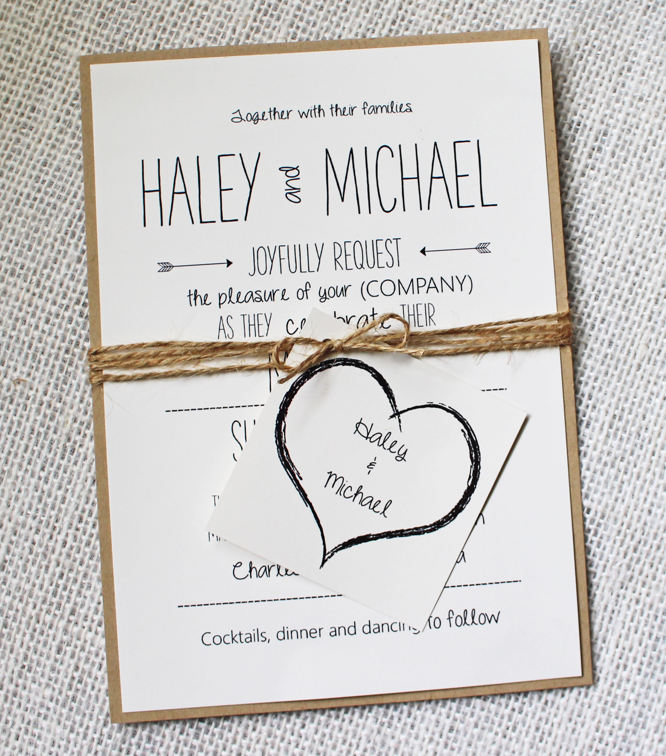 Fully Customized Eco-material Invitation, Accentuated By