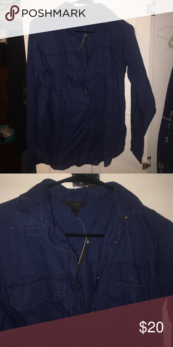 Dark denim colored j-crew shirt A cotton, collared shirt, in a dark indigo (looks like denim but very thin.) Buttons halfway down and has two front pockets. Never been worn with tags still on J. Crew Tops Button Down Shirts
