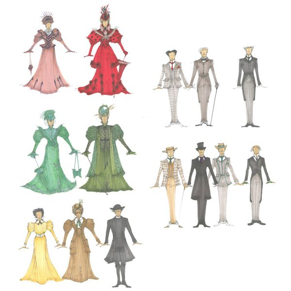 Costume Designs By Tony Tripp As Realised By Tracy Grant Lord For Characters In The Importance Of Being Costume Design Sketch Theatre Costumes Costume Design