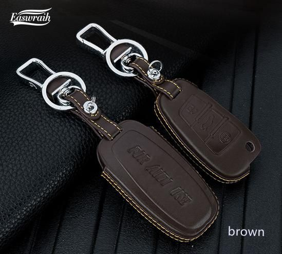 2017 Gift Leather Car Key Cover Holder Case Ring For Audi