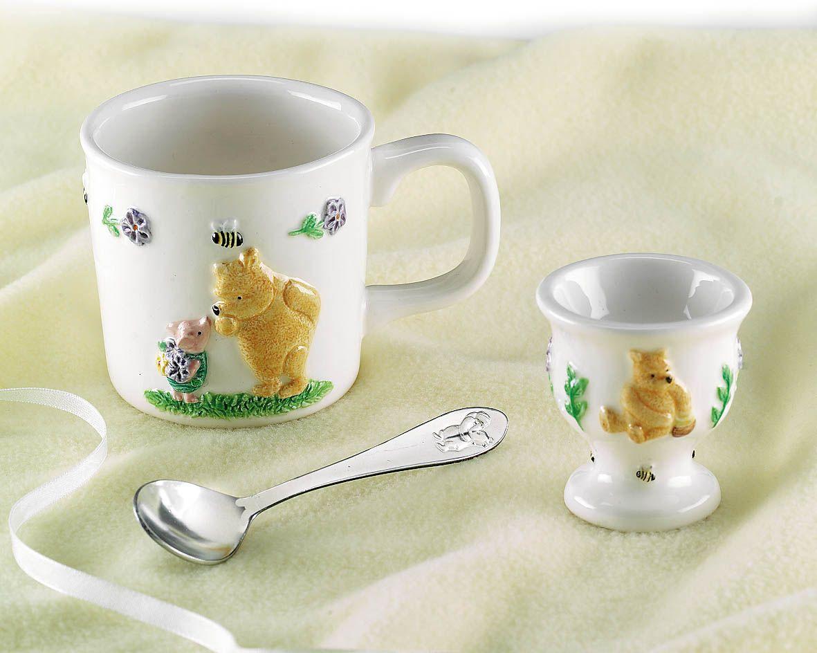 Winnie the Pooh egg cup, spoon, and mug