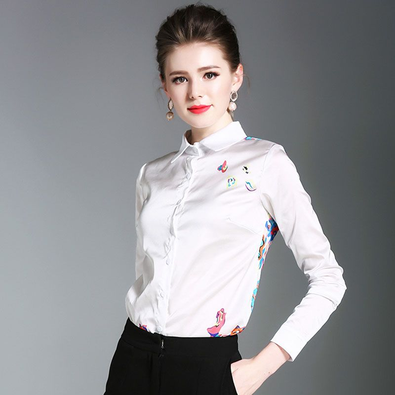 06b1c4216a1 Europe New Autumn Women s Fashion All-match Long Sleeve Floral Print Women  Designer Blouse XFN7075  Blouse designs