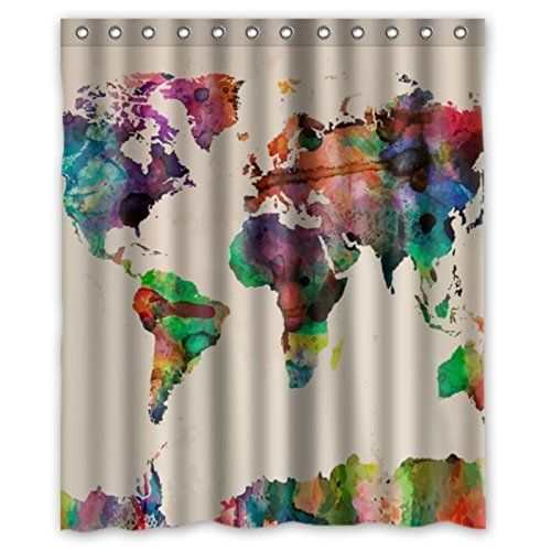 Watercolor world map shower curtains 60 by 72 diy print shower watercolor world map shower curtains 60 by 72 diy print shower curtain http gumiabroncs Image collections