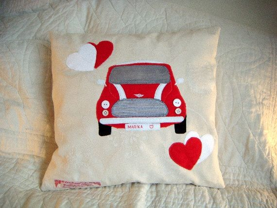 Classic Mini Cooper Personalised Cushion Red By Cornpoppydesigns