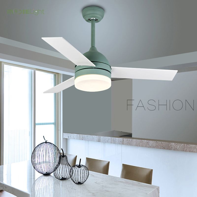 42 Inch Modern Macaron Ceiling Fan With Lights Remote Control Attic