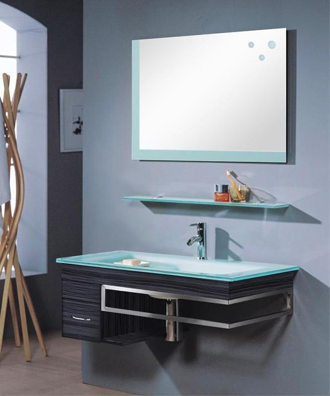 mobile bagno moderno con l avabo in cristallo  Mobile bagno moderno sospeso  Pinterest  Room ...