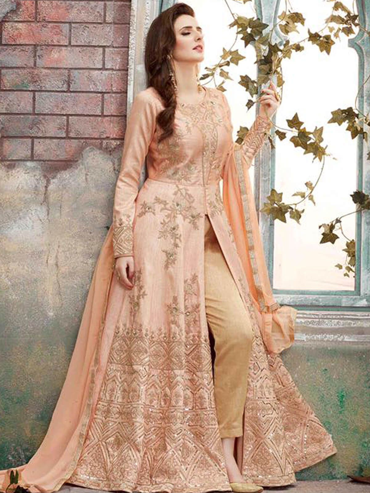 Stunning peach party wear georgette designer salwar suit Having