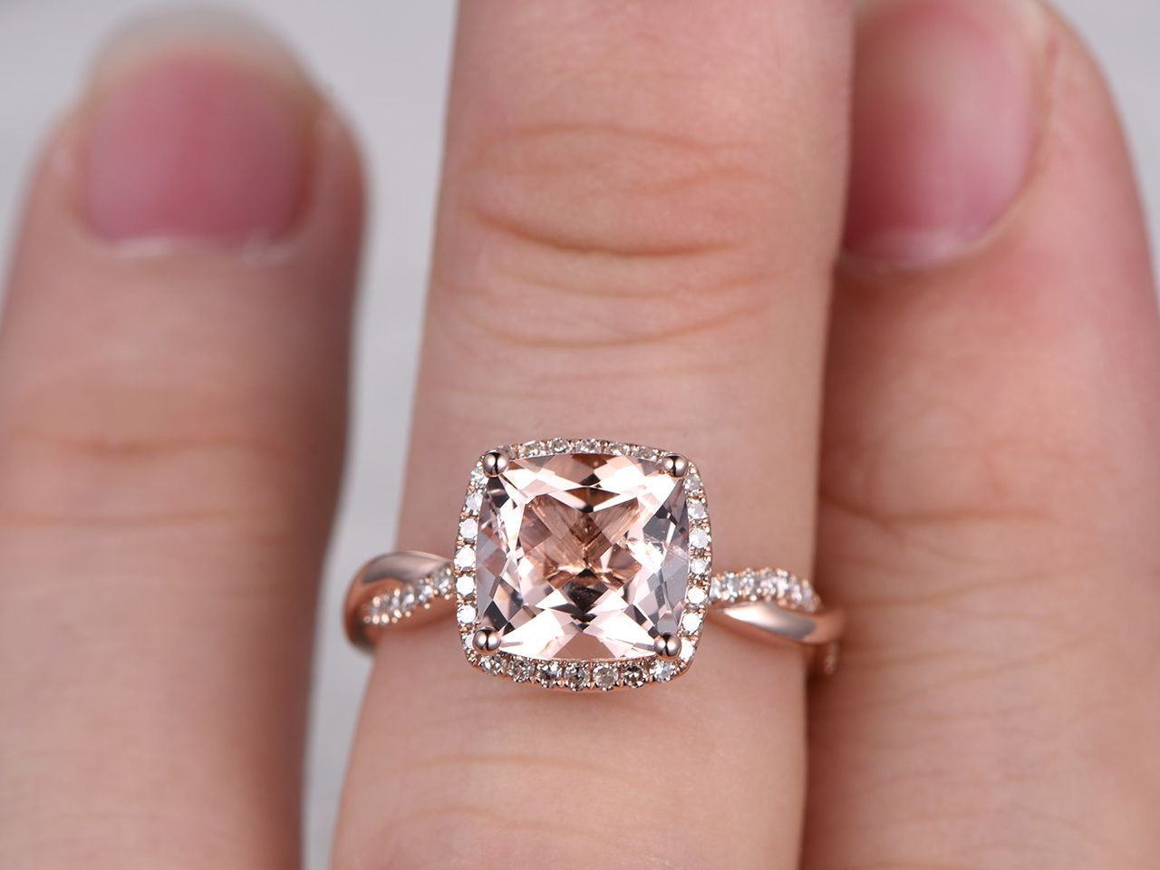 2.4 Carat Cushion Cut Morganite Engagement Ring Diamond Promise Ring ...