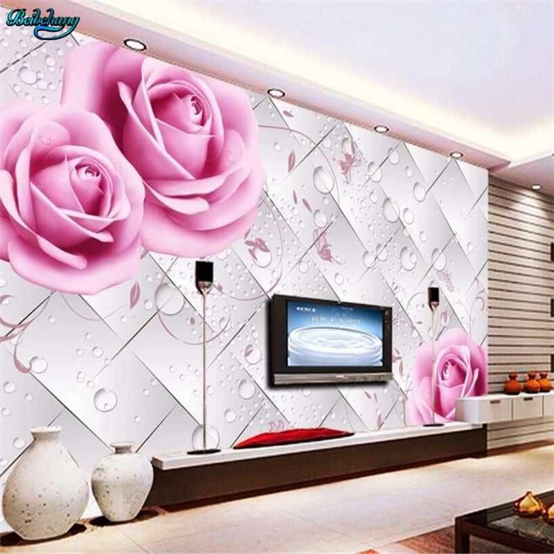 beibehang Personality custom wallpaper rose water droplets 3D stereo ...