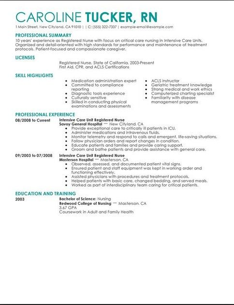 Critical Care Nursing Resume Examples  Best Nursing Resume