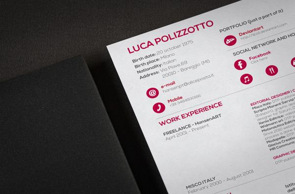 My new Resume by Luca Polizzotto, via Behance GraphicS - my new resume