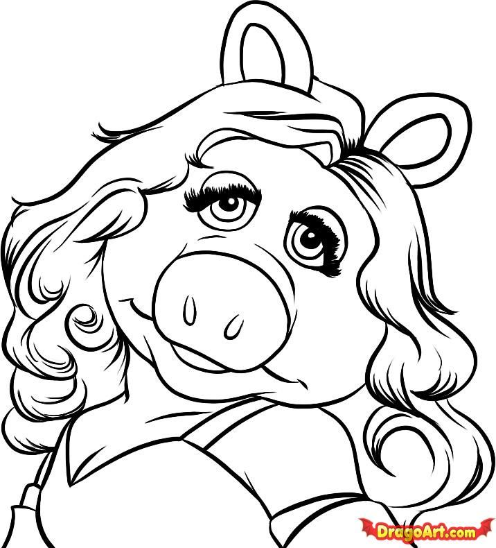 Step 7 How To Draw Miss Piggy Miss Piggy Cartoon Drawings Drawings