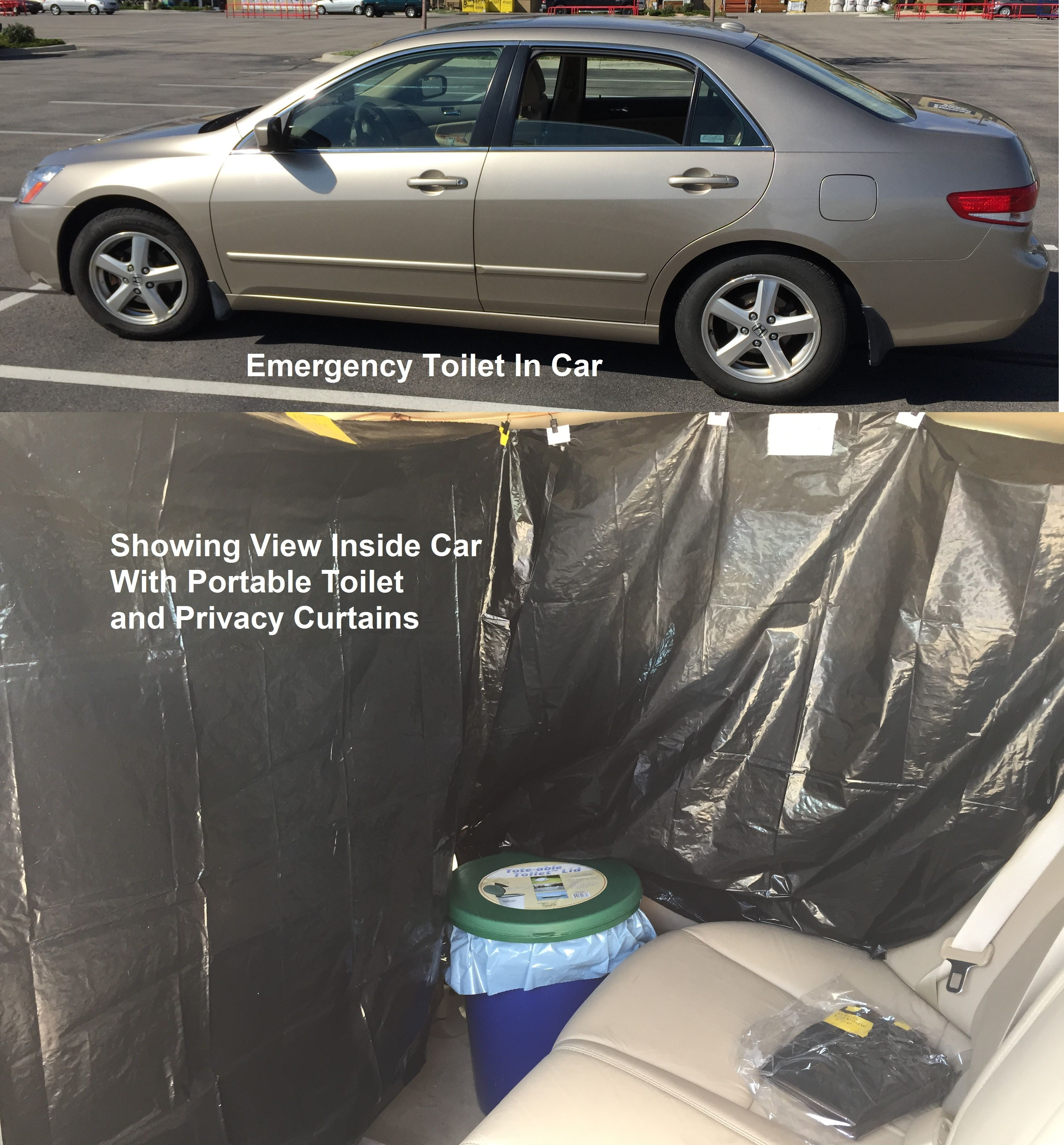 Emergency Portable Toilet In My Car Including Privacy Curtains