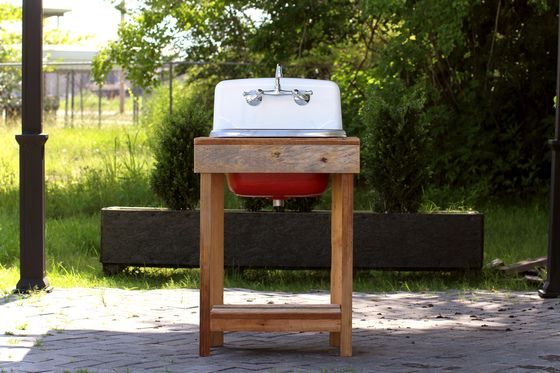 Reclaimed Wood Utility Farm Sink Stand Original Finish Cast Iron Porcelain High Back Sink Stand Package Incarnadine Red Cottage Farm Sink Wood Sink