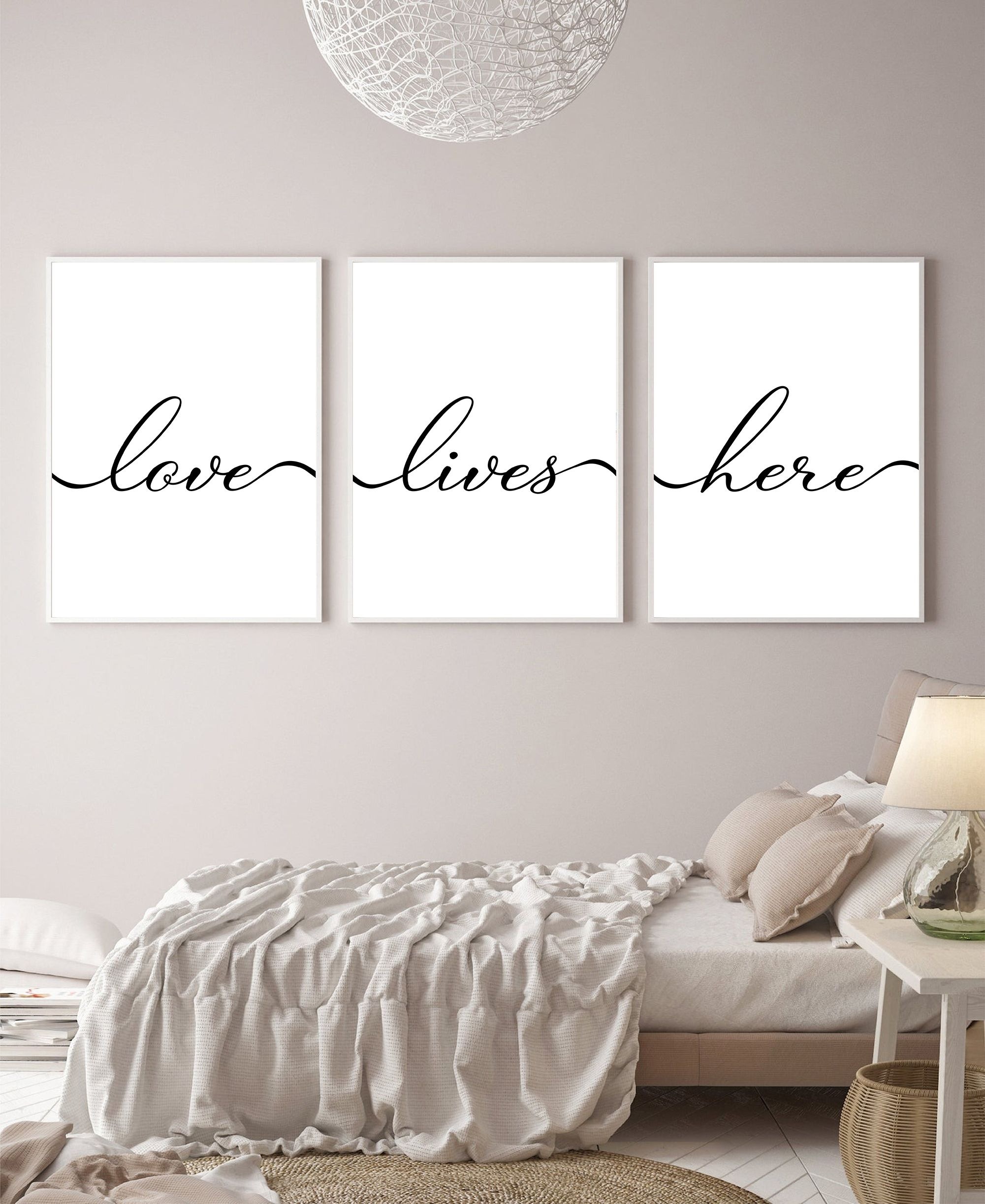 Love Lives Here Set Of 3 Wall Art Print Minimalistic Simple Etsy Prints Home Decor Bedroom