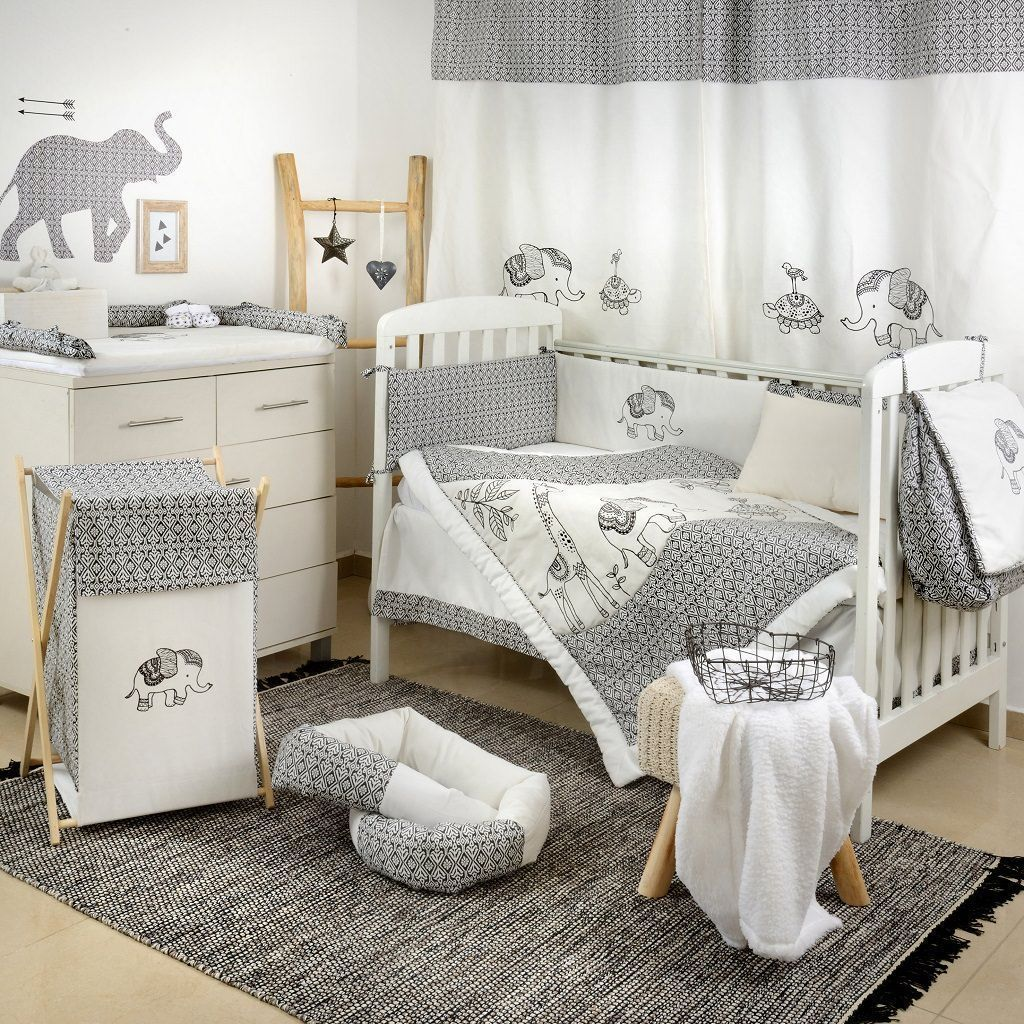 Gray Elephant Crib Bedding Set Babymoonnursery