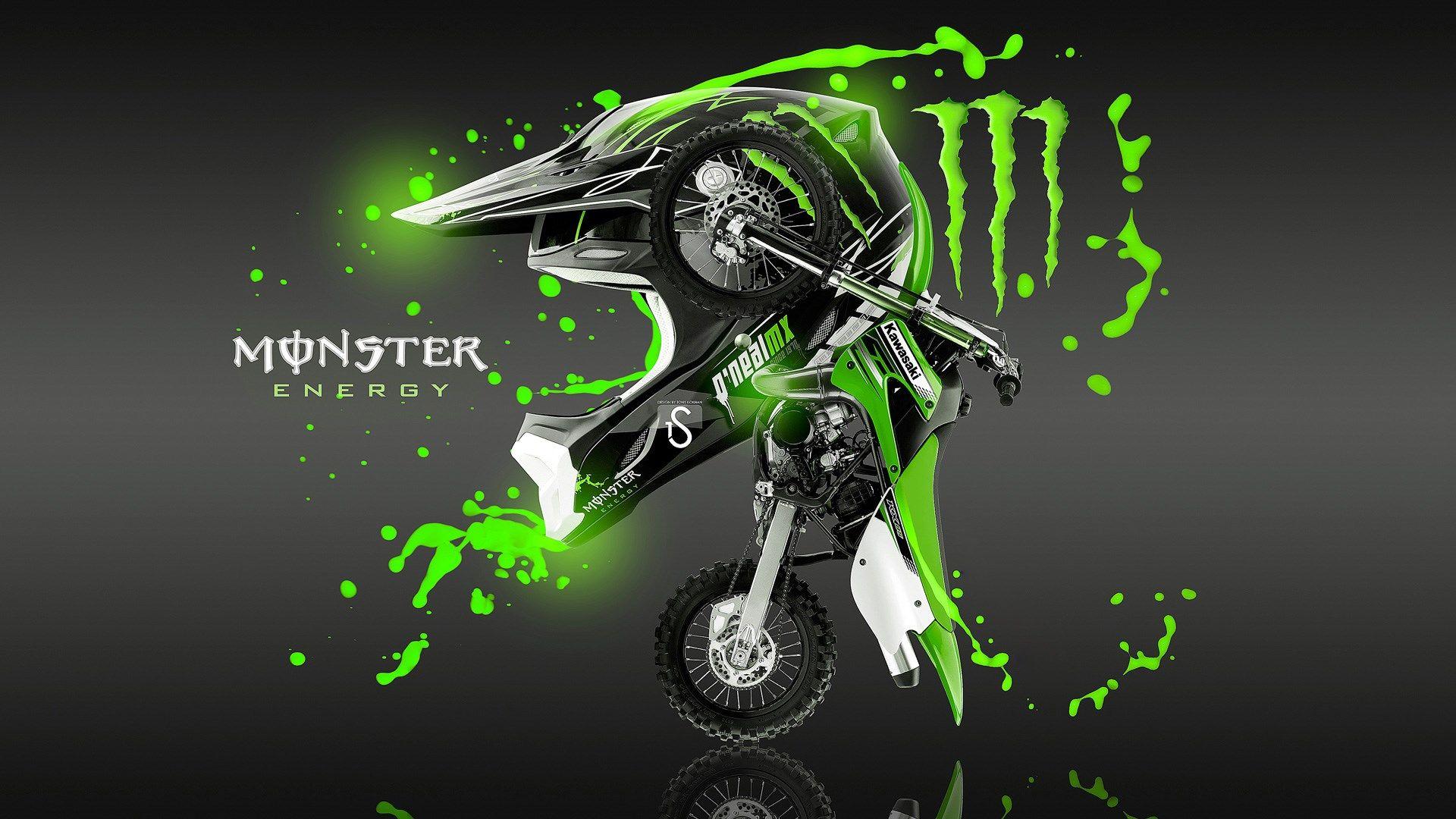 Kawasaki Dirt Bike Monster Energy Wallpaper Hd Monster Energy Monster Cool Monsters
