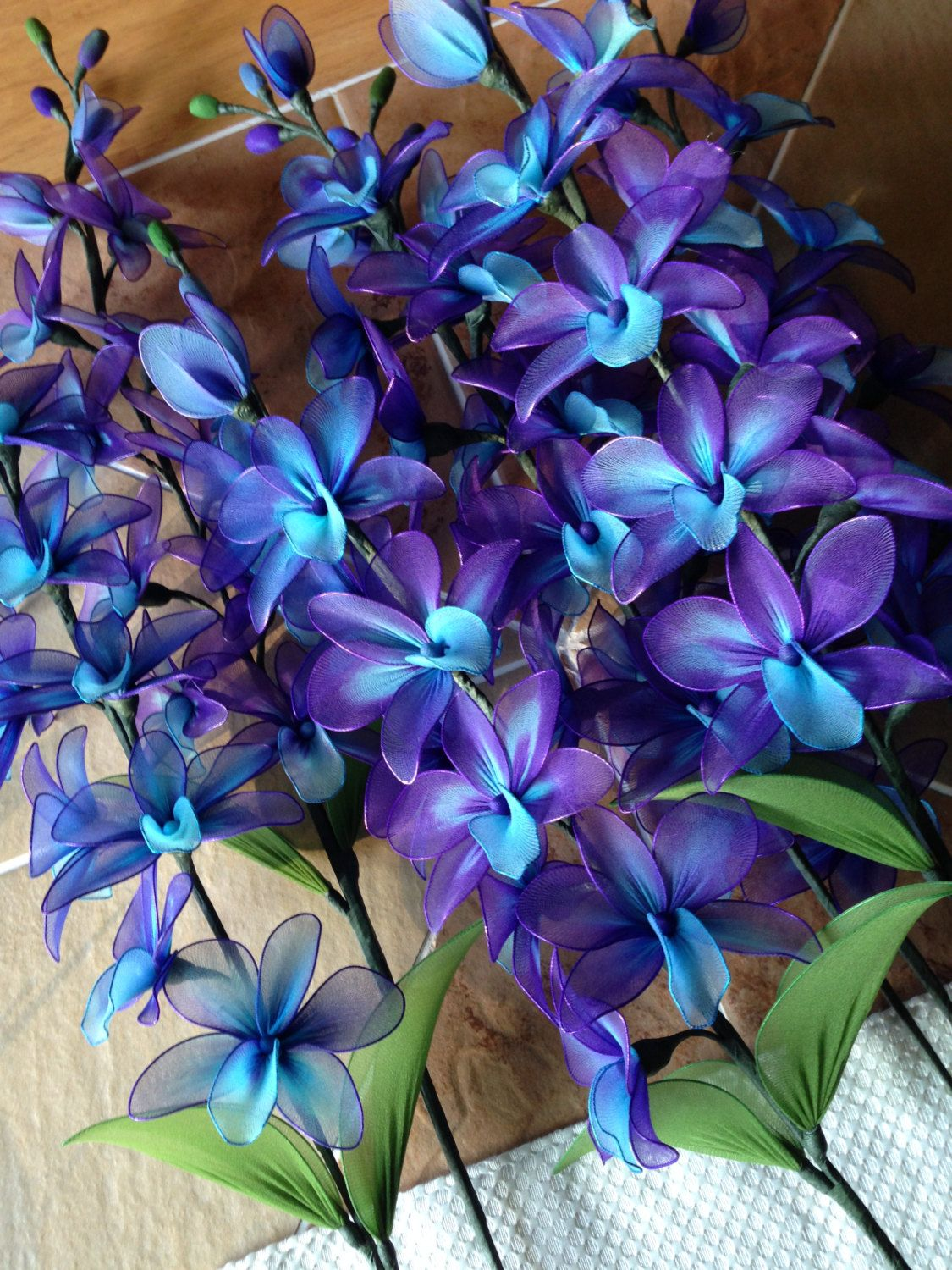 Purple And Blue Orchid Flowers Stem Nylon Flower Plant 19 00 Cad By Thecallendersflowers