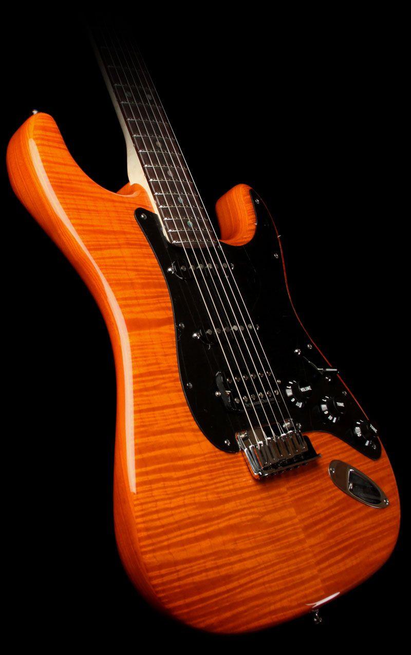 orange fender stratocaster fender custom shop 2011 custom deluxe stratocaster electric guitar. Black Bedroom Furniture Sets. Home Design Ideas
