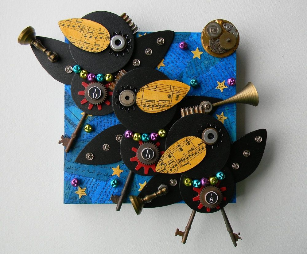 """Recycled Art Collage """"Night Parade"""" Original by redhardwick, SOLD."""