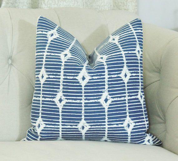 Blue Outdoor Pillow Cover 17.5 X 17.5   Shutter To Think Denim Perennials    Designer Decorative