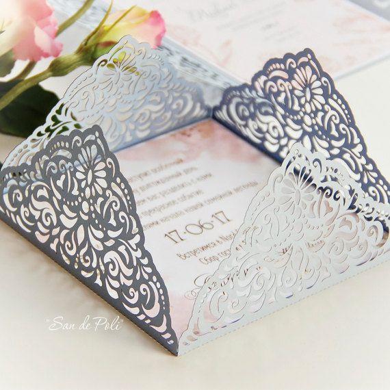 Wedding Invitation Card Template Four Fold Filigree Envelope 5x5 Svg Dxf Ai Eps Cdr Laser Cut Pattern Silhouette Cameo Cricut