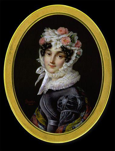 Adolphe Girardot (nach Mansion)  Lady in Grey Velvet Gown  1823 watercolour and gouache on ivory lower left: Girardot/1823. oval: 13.60 cm x 10.10 cm vergoldeter Metallreif