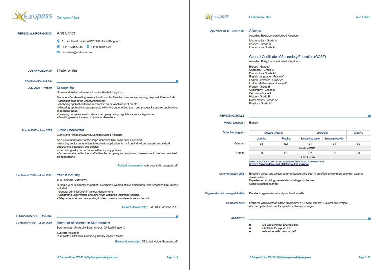 Example Of A Europass Cv More Examples HttpEuropassCedefop