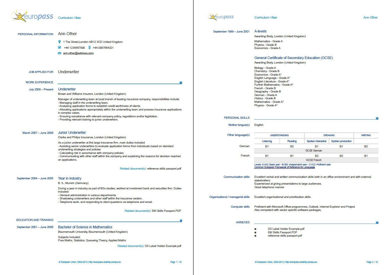 Example of a Europass CV. More examples http//europass