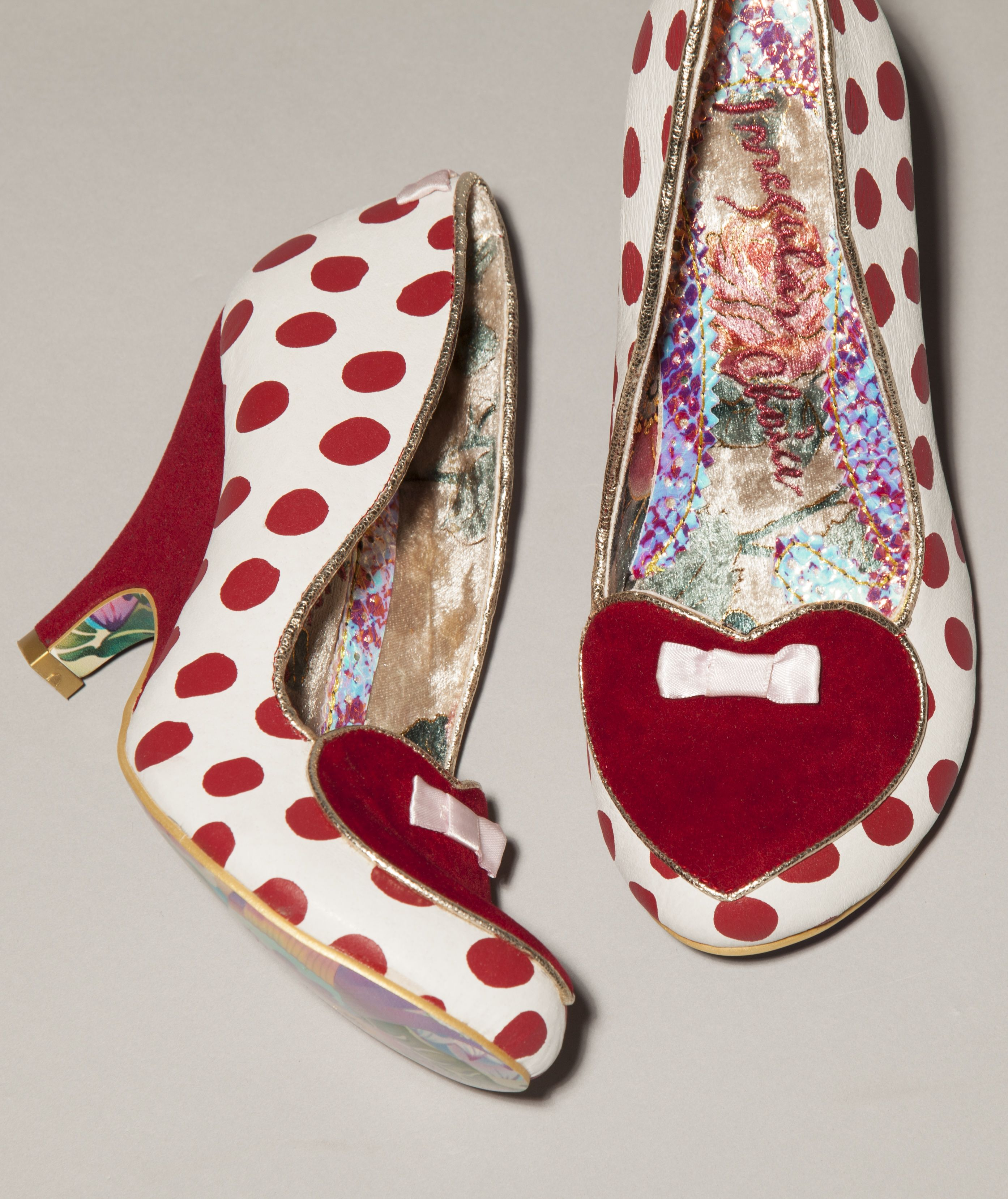 Irregular Choice white and red Dotty Love Heels Unique