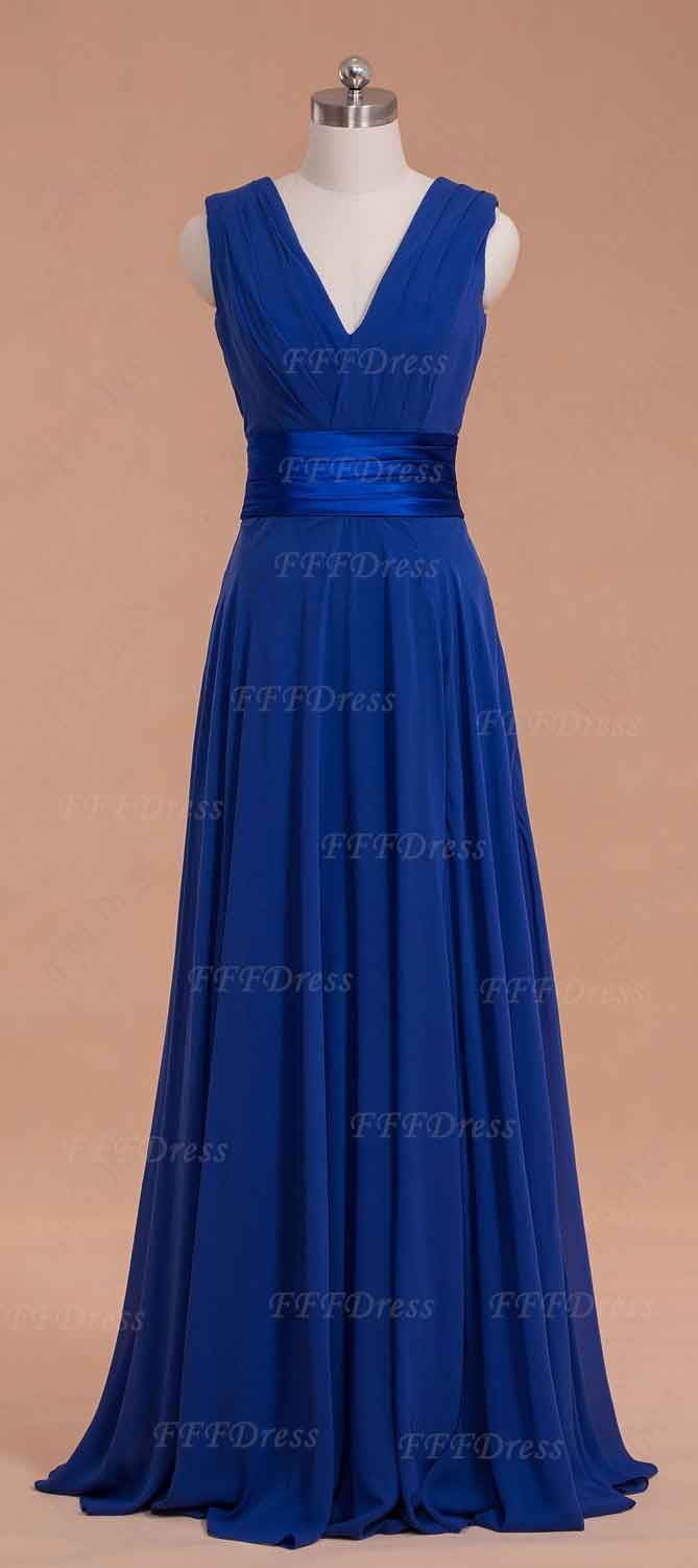 Wedding Long Dresses For Wedding v neck royal blue long bridesmaid dresses with slit slit