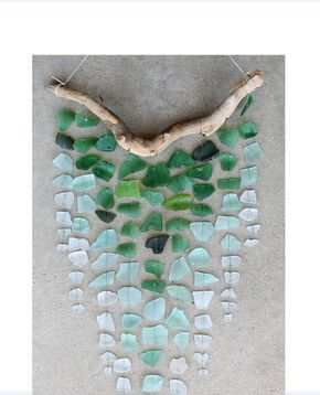 Photo of Sea Glass & Starfish Mobile – Colossal Ombre /Sea glass mobile, seaglass mobile, sea glass chandelier, seaglass windchime, sea glass art