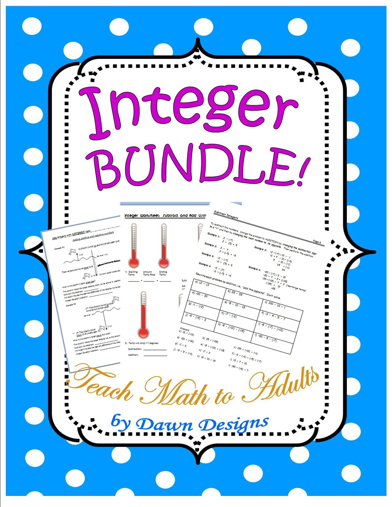 Integer Worksheet Bundle Of Operations Math