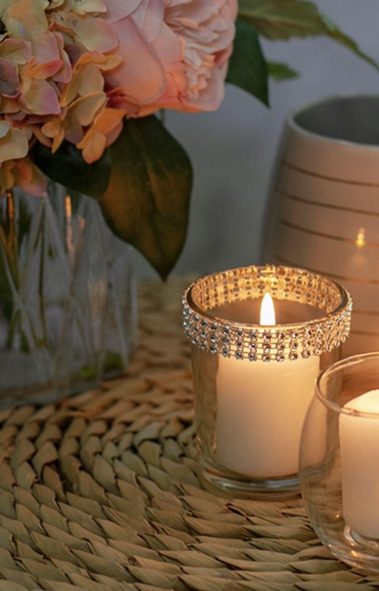 Diamante Rim Clear Votive Glass Votive Candle Holders Glass Votive Candle Holders
