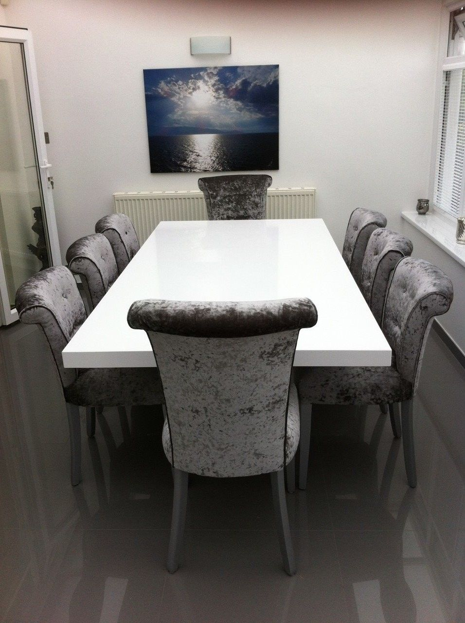 Beautiful White Silestone Zeus Quartz Table Complemented With Our Own Anabelle Dining Chairs All Manufactured I Stone Dining Table Furniture Marble Furniture