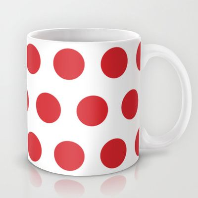 Medium Red Dots on White Mug | Red dots and Fabrics
