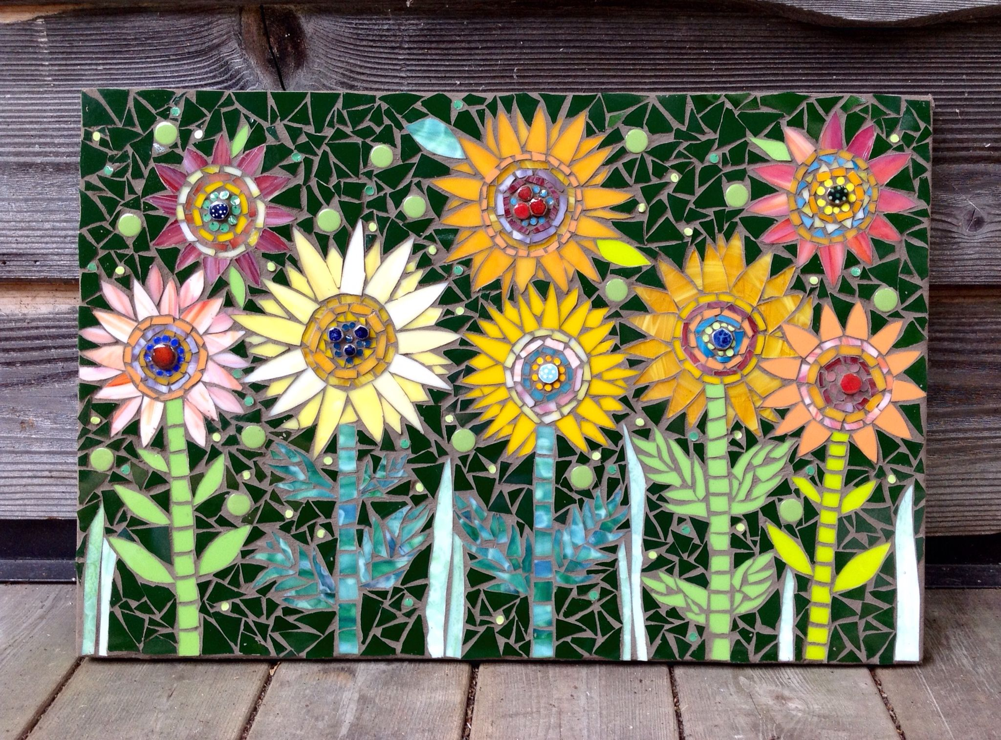 Zany Daisies Mixed Media Mosaic By 22mosaics Mosaic Garden Mosaic Flowers Mosaic Wall Art