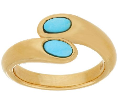 14K Gold Sleeping Beauty Turquoise Bypass Ring