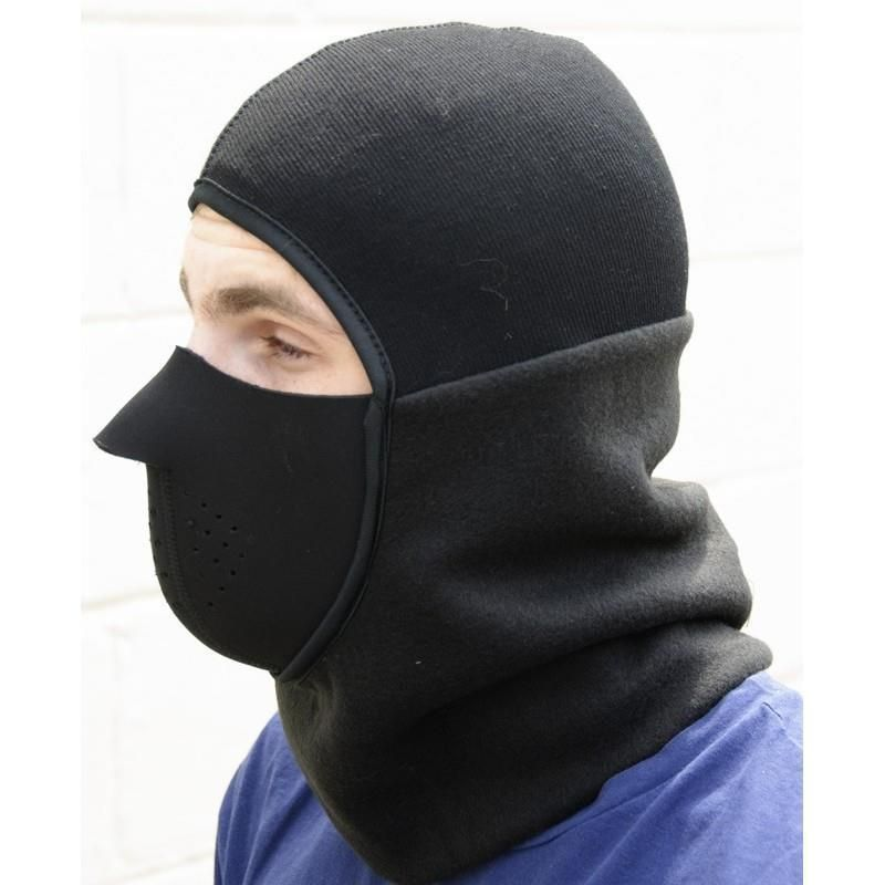 Men Black Balaclava Extreme Cold Pull Over Hoodie with Face