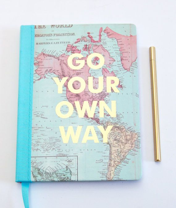 Go your own way journal world map and gold foil cover with sky go your own way journal world map and gold foil cover with sky blue binding gumiabroncs Image collections