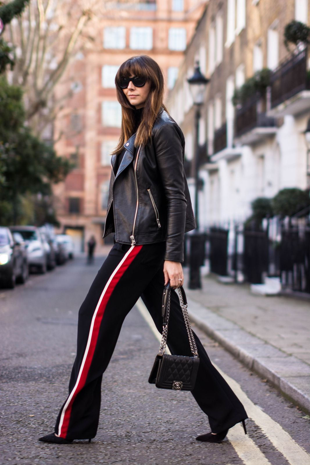 7aa3c57a OOTD, Leather biker jacket, black Chanel Boy bag, Zara side stripe wide leg  trousers, London street style 2015. Fashion Blogger - Emma Hill - EJSTYLE